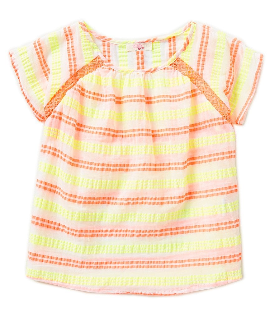 GB Girls 7-16 Stripe Gauze Blouse
