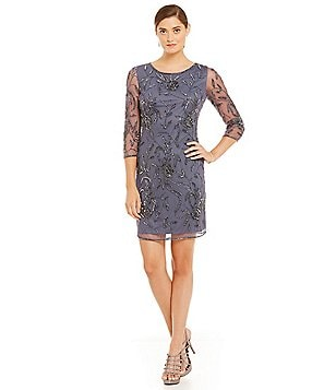 Pisarro Nights Beaded 3/4-Sleeve Sheath Dress