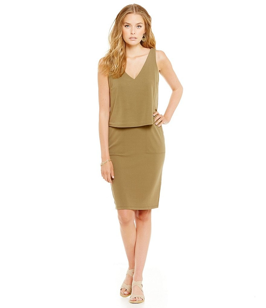 Lauren Ralph Lauren Petite Layered V-Back Jersey Dress