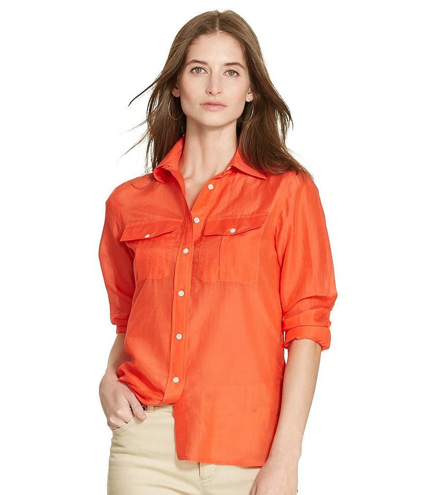 Lauren Ralph Lauren Petite Cotton-Silk Voile Long Sleeve Collared Shirt