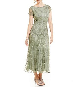 Pisarro Nights Beaded Drop Waist Gown