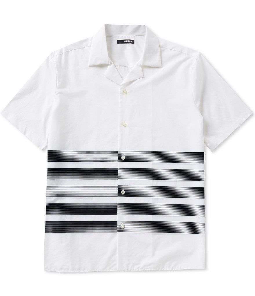 Murano Short-Sleeve Placed Stripe Camp Shirt