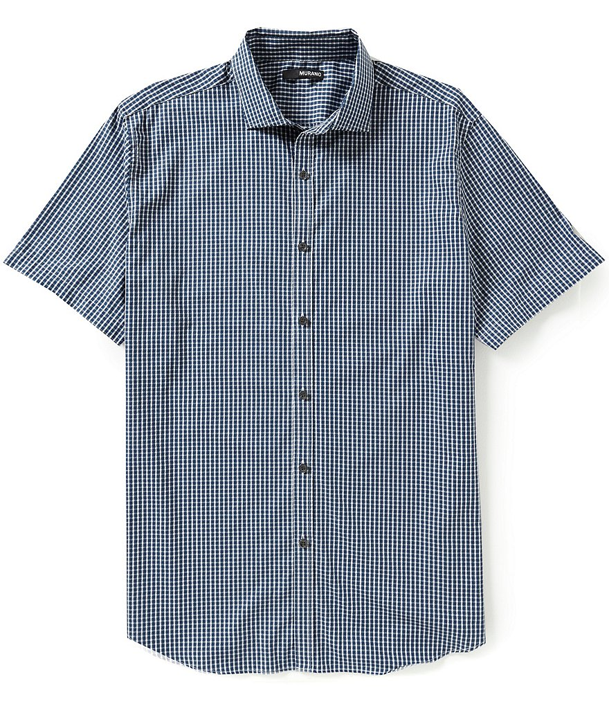 Murano Gingham-Textured Short-Sleeve Sportshirt