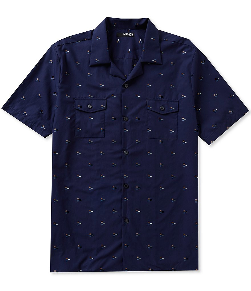 Murano Short-Sleeve Slim-Fit Clipped-Dobby Camp Shirt