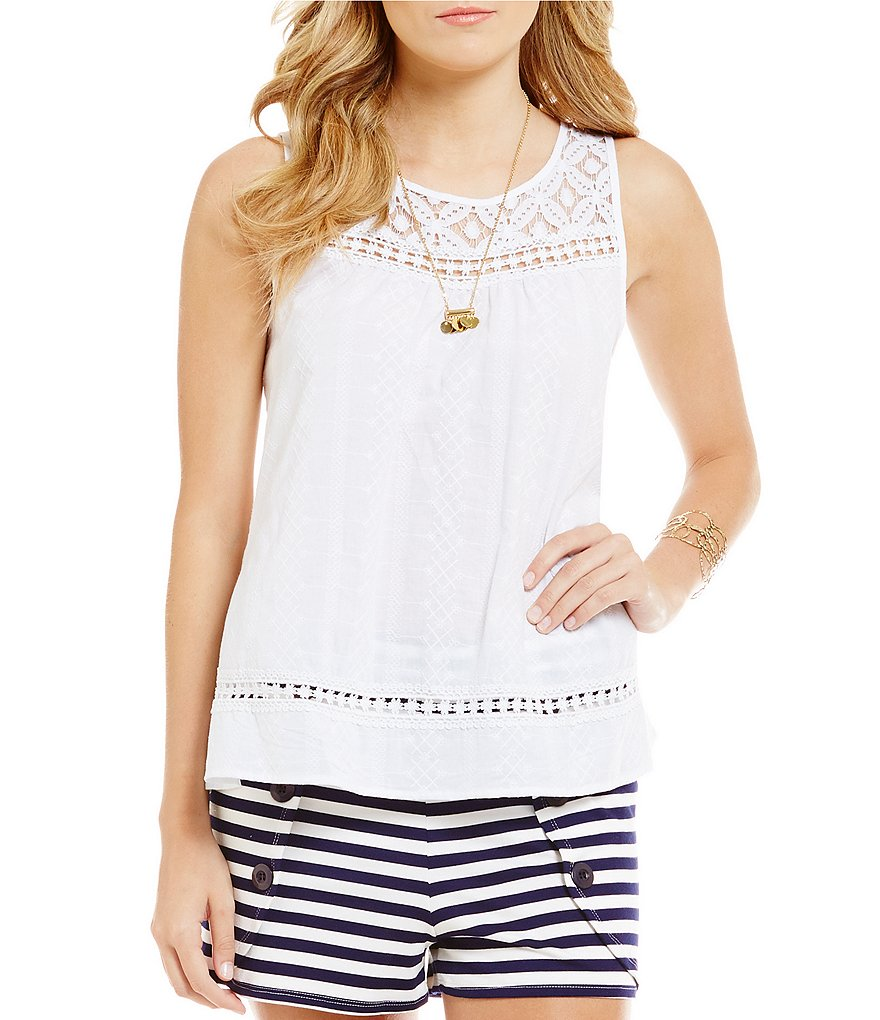 Takara Lace Yoke Trim Detail Tank Top
