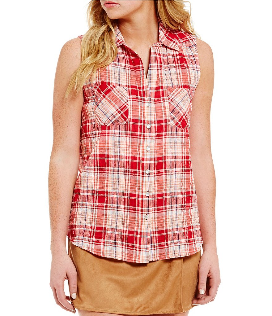 Takara Sleeveless Plaid Button-Front Shirt
