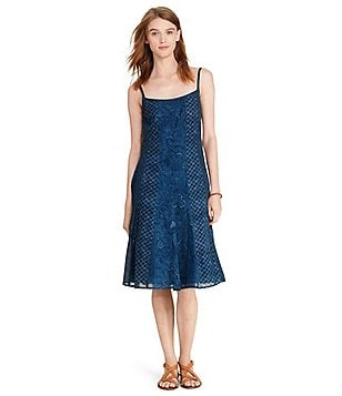 Lauren Ralph Lauren Petite Fit-and-Flare Printed Panel Construction Dress