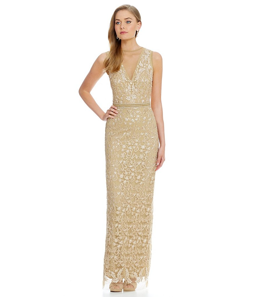 Nicole Miller Collection Floral Embroidered with Beaded Belt Gown