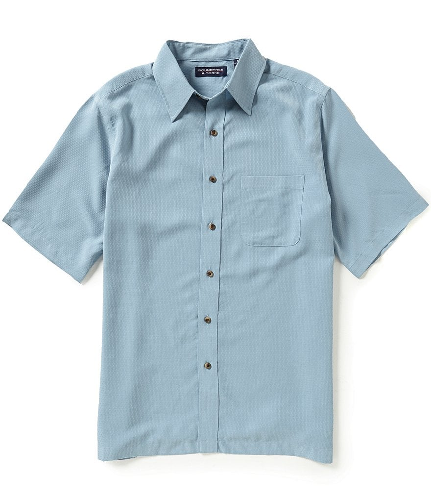 Roundtree & Yorke Diamond Texture Short-Sleeve Point Collar Sportshirt