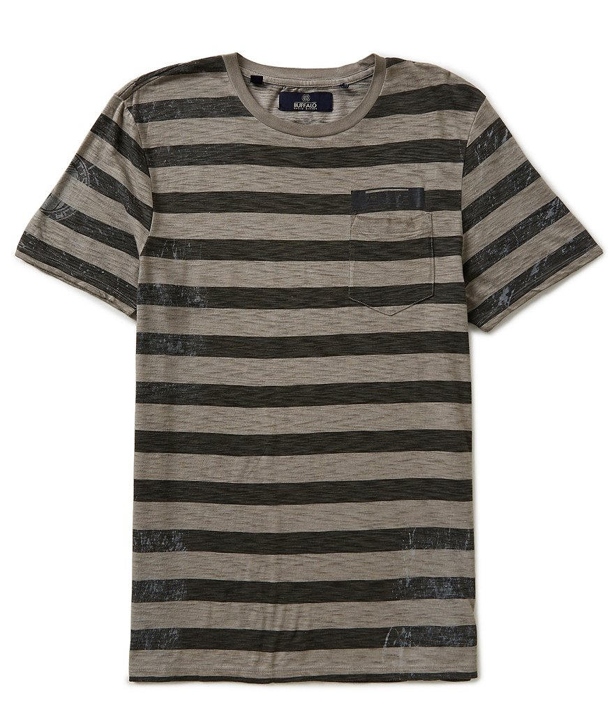 Buffalo David Bitton Narule Horizontal Striped Short-Sleeve Crewneck Pocket Tee