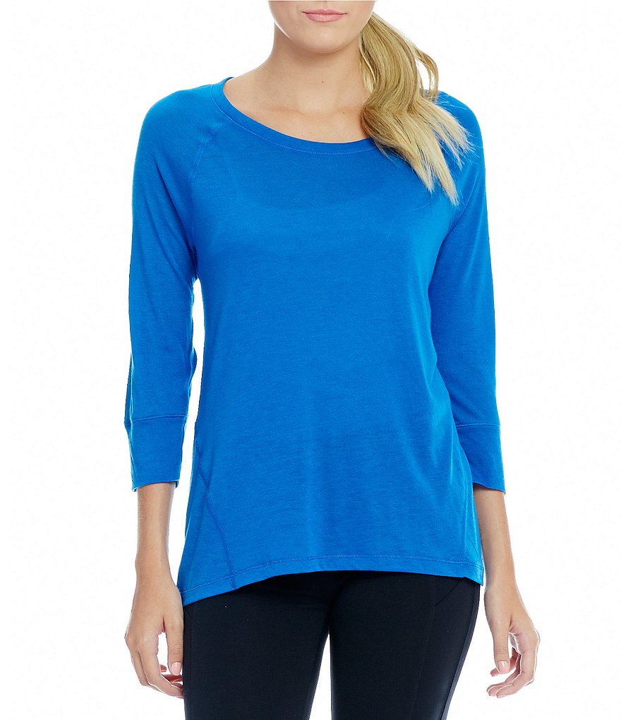 Calvin Klein Performance 3/4 Sleeve Knit Jersey Seamed Tee