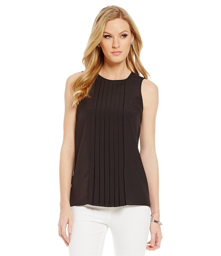 MICHAEL Michael Kors Pebble Crepe Pleat Front Top