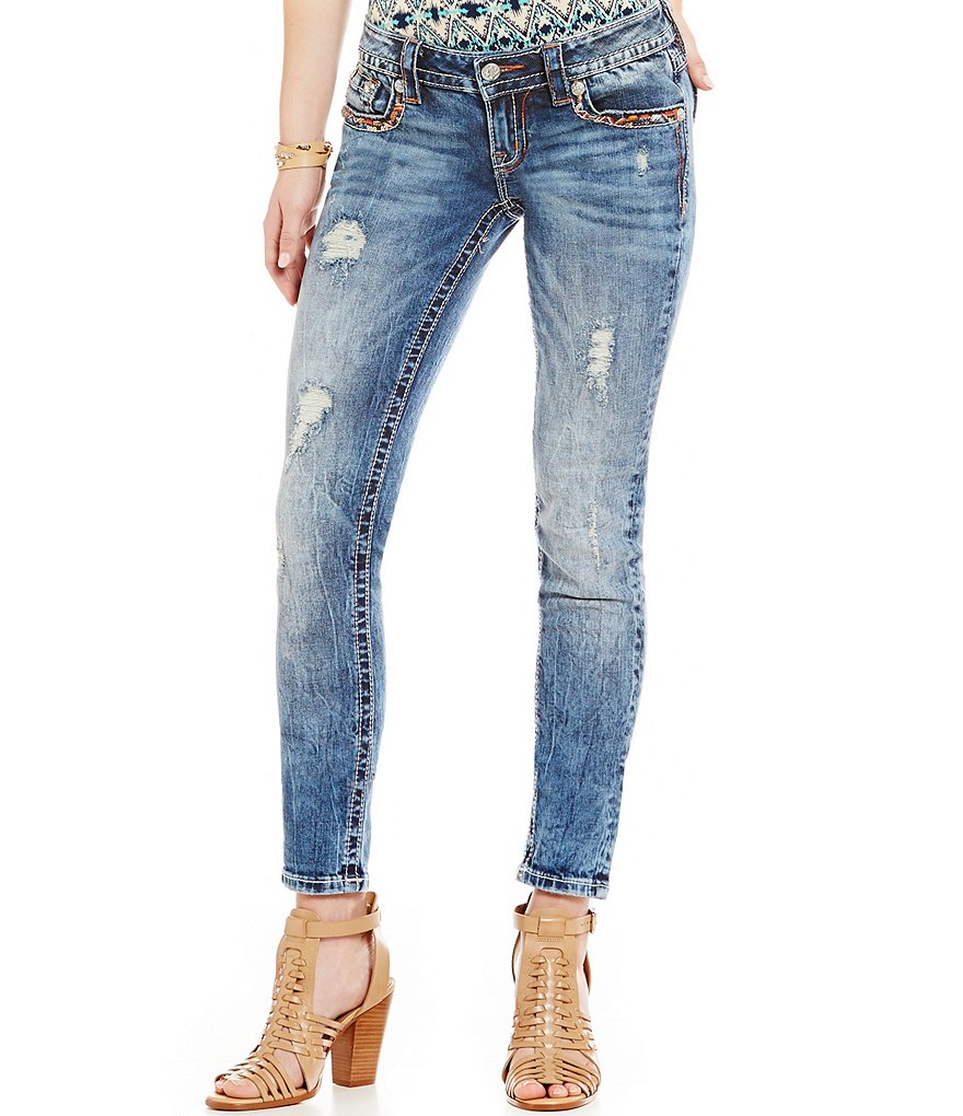 Miss Me Border-Pocket Low-Rise Distressed Skinny Jeans