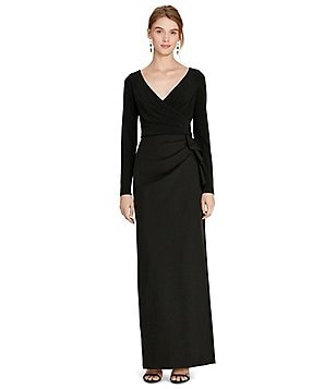 Lauren Ralph Lauren Side Ruffle Faux Wrap Gown