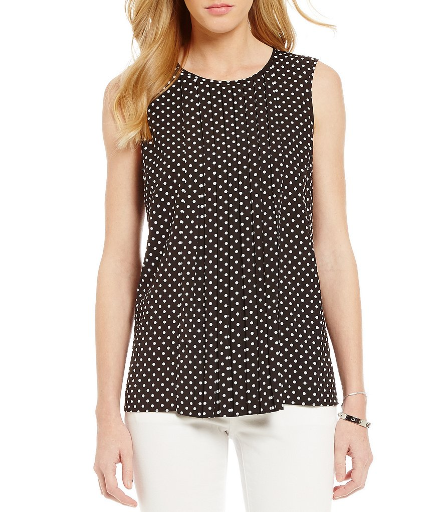 MICHAEL Michael Kors Mini Mod Spot-Print Pleat Front Top