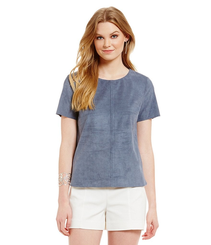 1. STATE Faux Suede Top