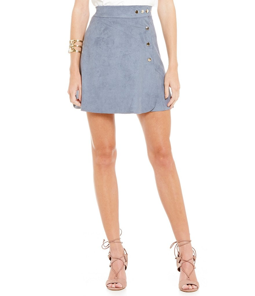 1. STATE Button A-Line Faux Suede Skirt