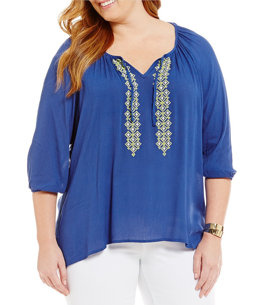 Calessa Plus Embroidered Hi-Low Peasant Top