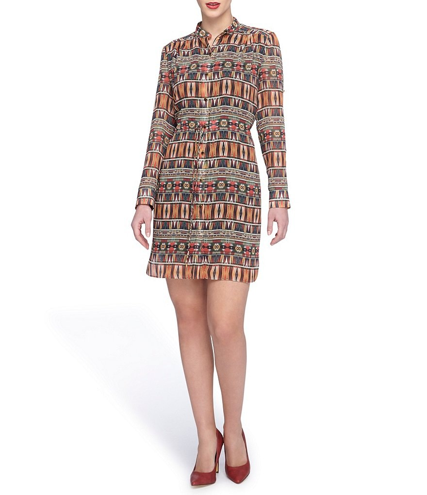 Tahari ASL Printed Chiffon Shirt Dress