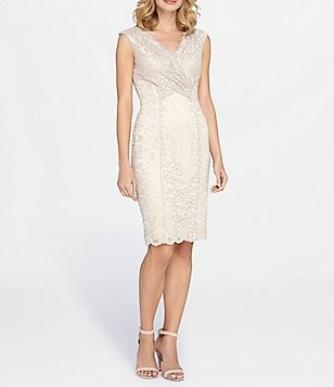 Tahari ASL Scalloped Lace Faux Wrap Dress