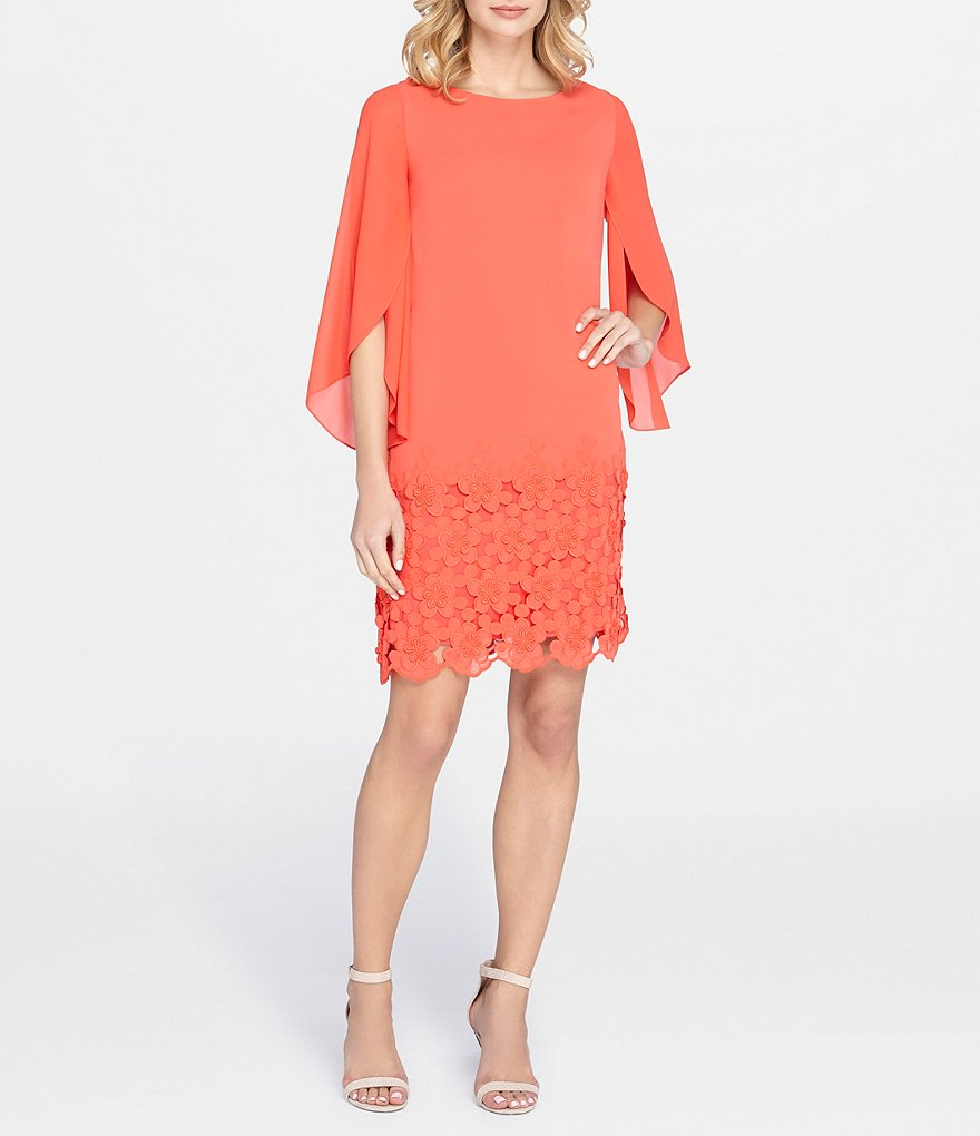 Tahari ASL Embroidered Bottom Chiffon Shift Dress
