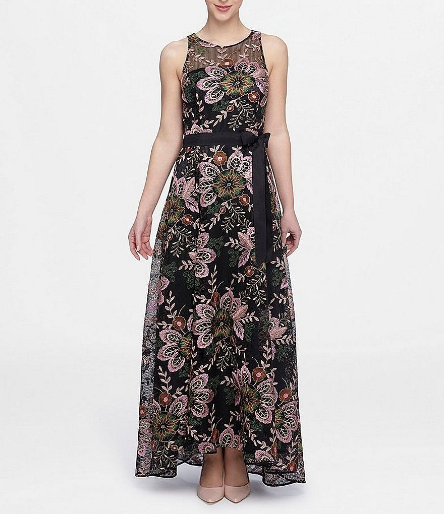 Tahari ASL Floral Embroidered A-Line Gown