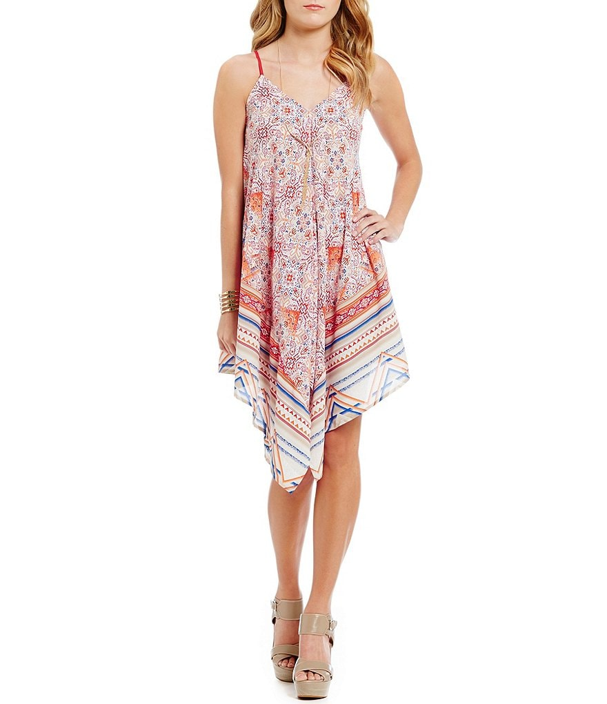 Blu Pepper Border-Print Handkerchief-Hem Dress