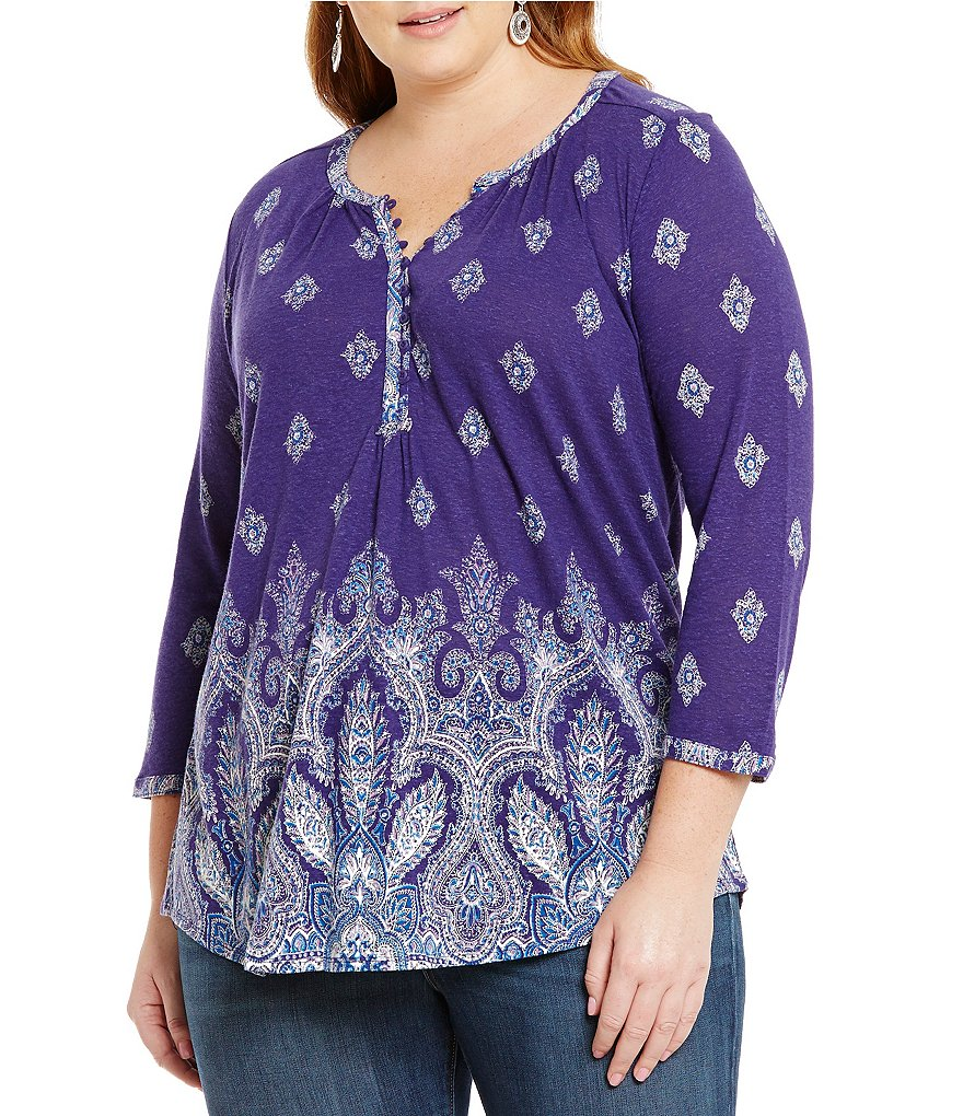 Lucky Brand Plus Paisley-Print Top