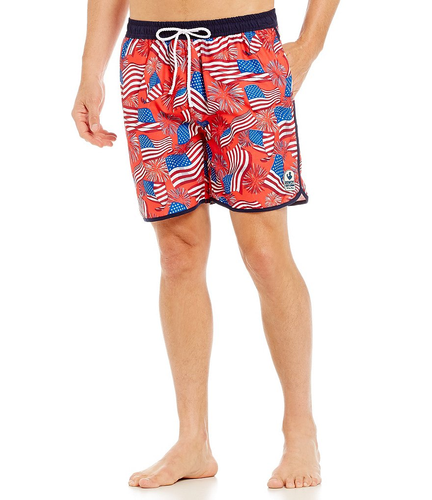 Rowdy Gentleman National Anthem American Flag Swim Trunks