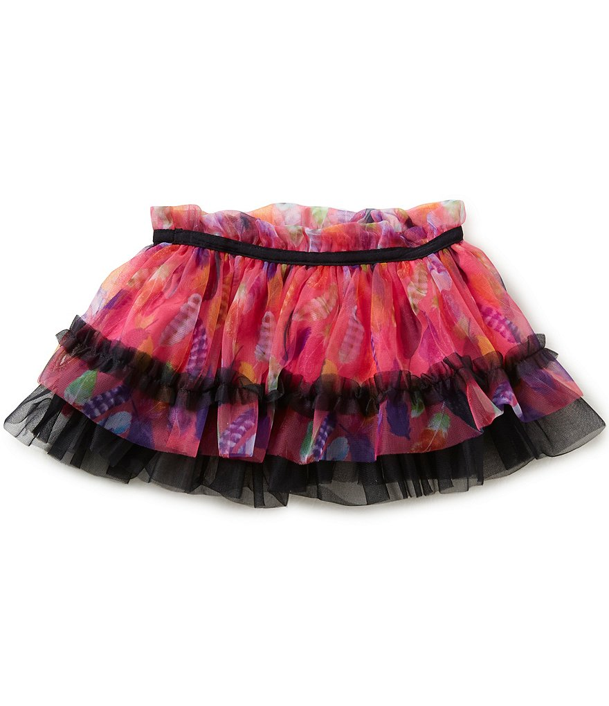 Baby Starters Baby Girls 3-12 Months Feather-Printed Tulle Tutu Skirt