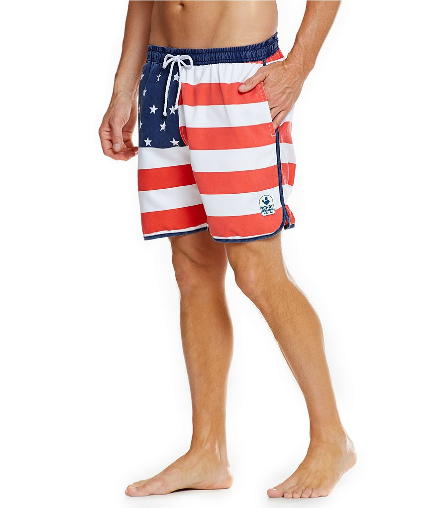 Rowdy Gentleman Faded American Flag Swim Trunks