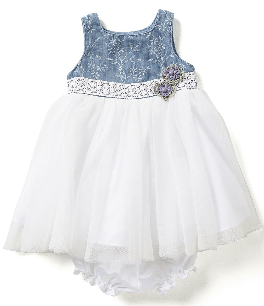 Laura Ashley London Baby Girls 12-24 Months Floral-Bodice Tulle-Skirted Dress