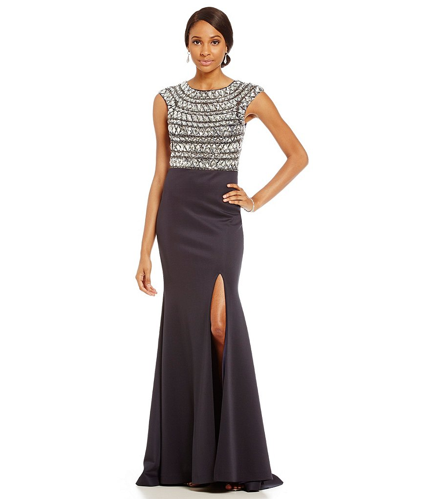 Terani Couture Beaded Bodice High Slit Gown