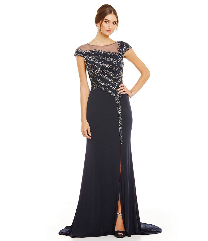 Terani Couture Illusion Neck Beaded Gown