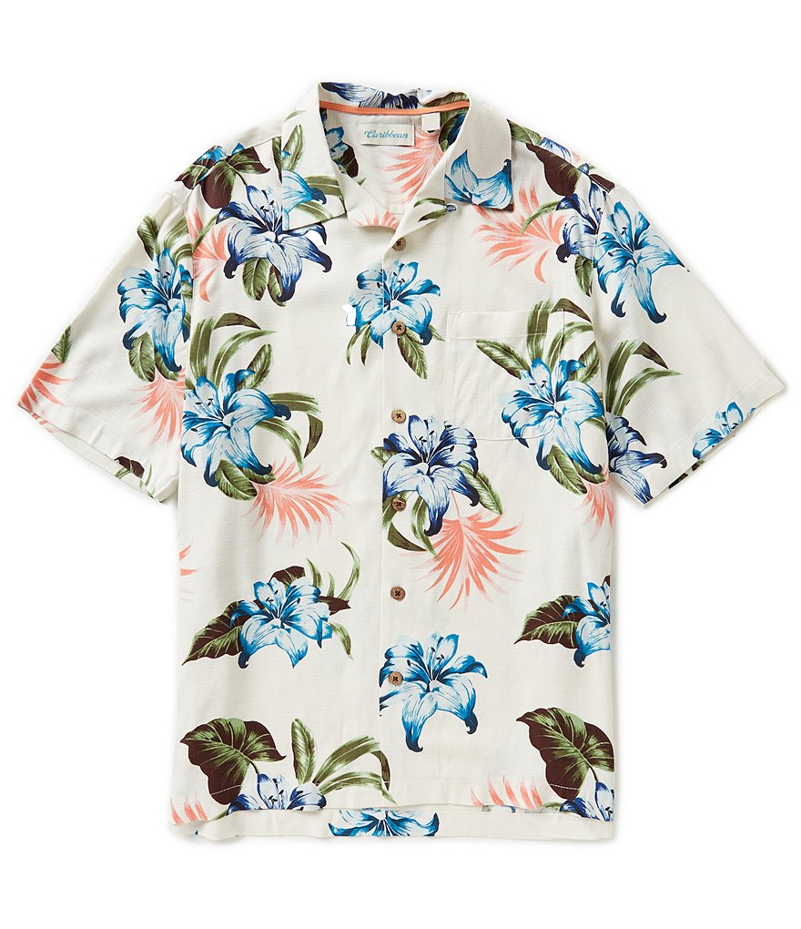 Caribbean Big & Tall Short-Sleeve Silk Bamboo Hibiscus Print Camp Shirt