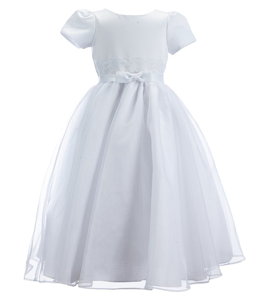 Joan Calabrese Big Girls 2-14 Organza Bow Waist Dress
