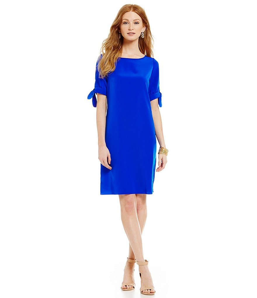 Donna Ricco Tie Sleeve Crepe Shift Dress