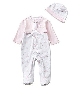 Little Me Baby Girls Preemies-9 Months Baby Bunnies Pieced Footed Coverall and Hat Set Image