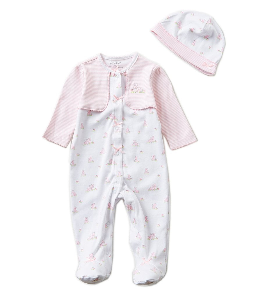 Little Me Baby Girls Preemies-9 Months Baby Bunnies Pieced Footed Coverall and Hat Set