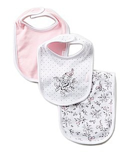 Little Me Bird Toile Printed/Solid Bibs and Burpcloth Three-Piece Set Image