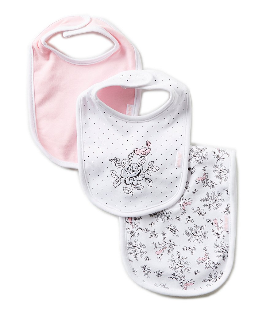 Little Me Bird Toile Printed/Solid Bibs and Burpcloth Three-Piece Set