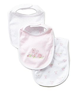 Little Me Baby Bunnies Printed/Solid Bibs and Burpcloth Three-Piece Set Image