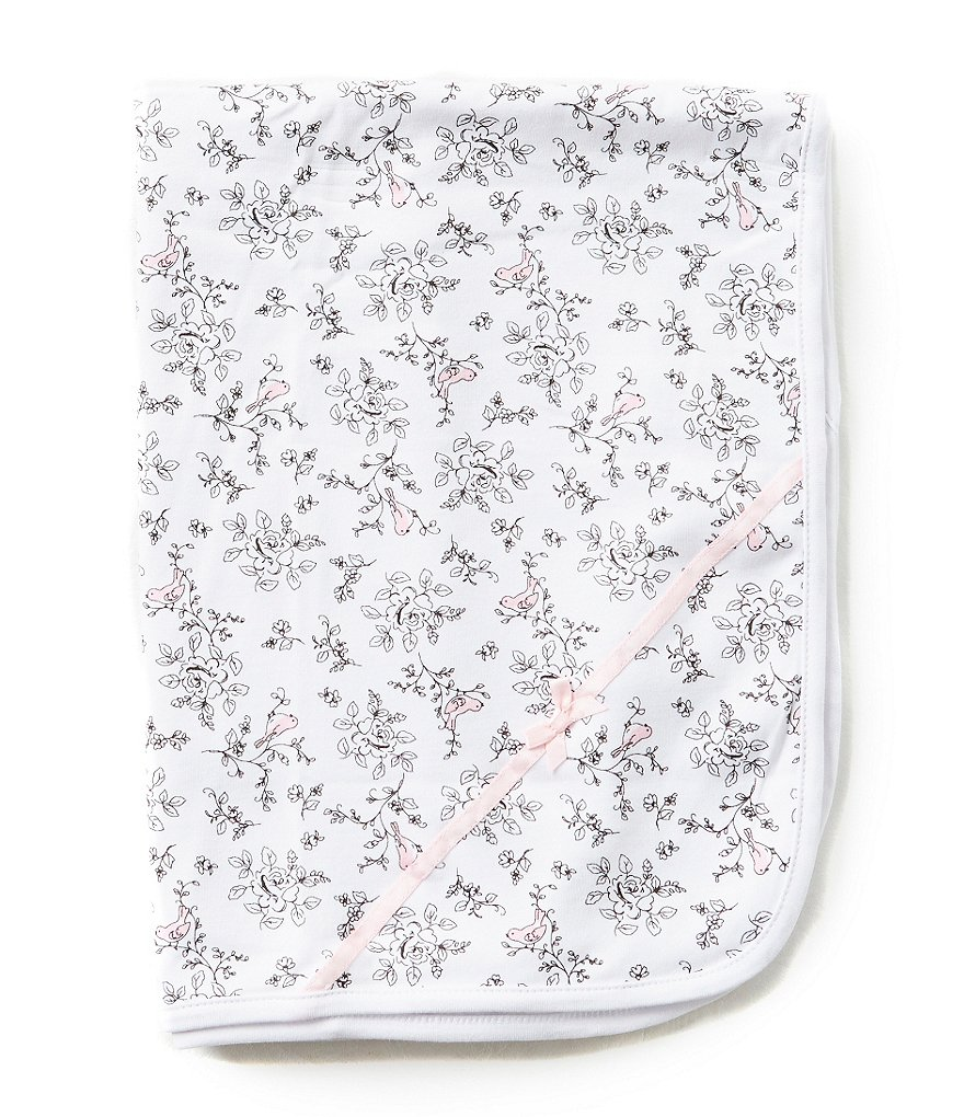 Little Me Bird Toile Reversible Printed Receiving Blanket