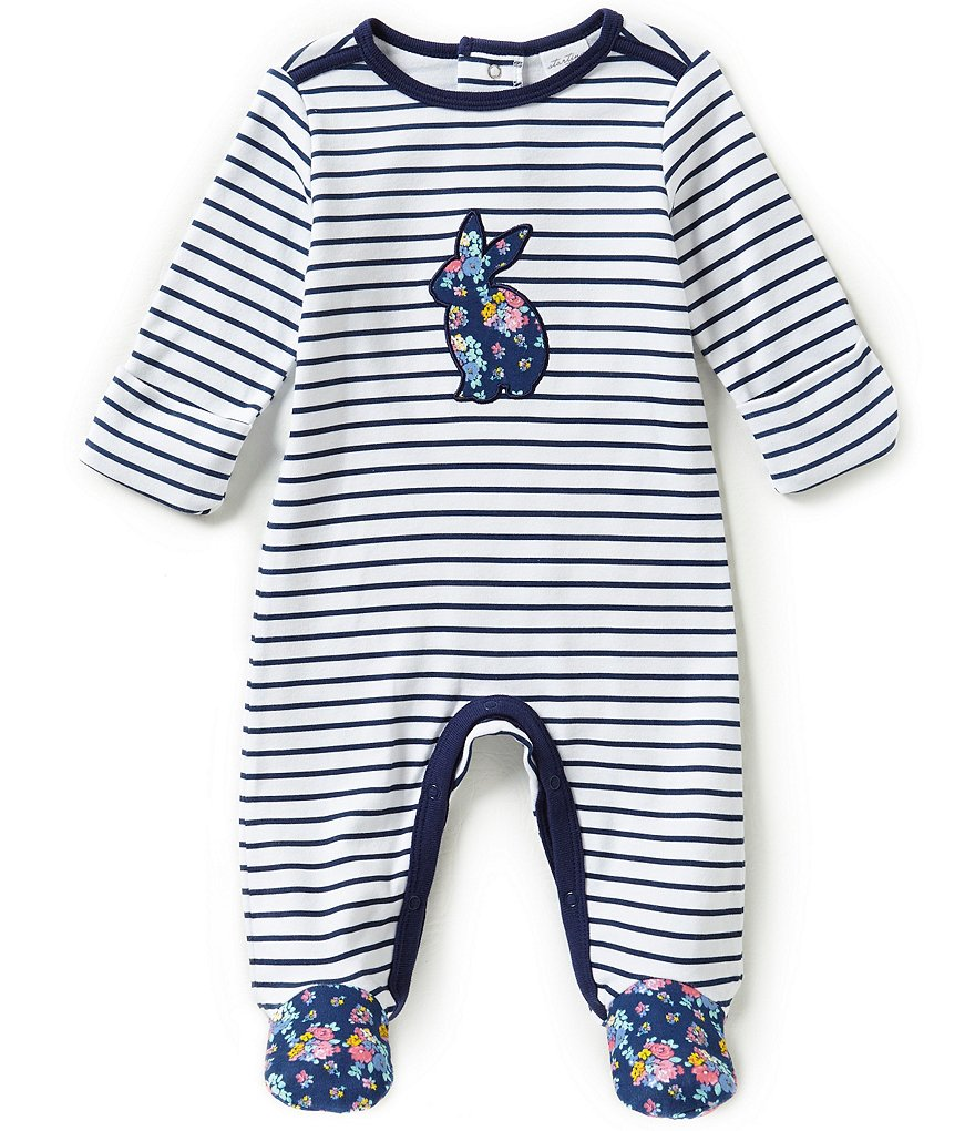 Starting Out Baby Girls Newborn-6 Months Striped Floral Rabbit Coverall