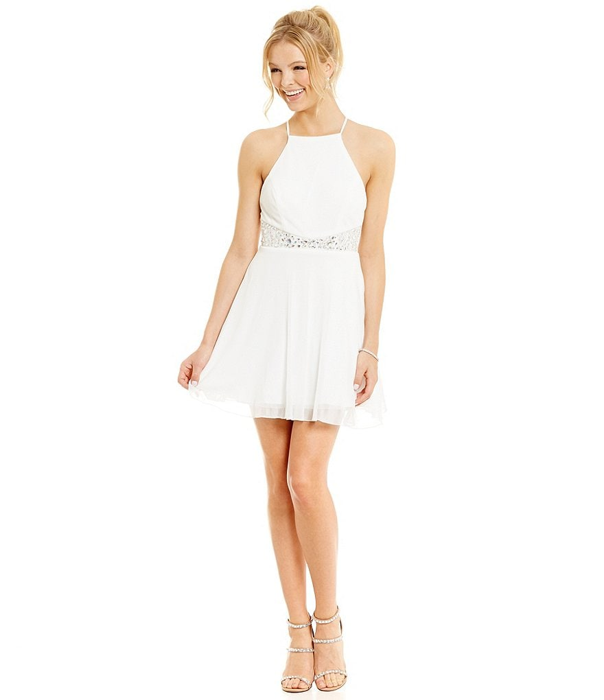 Teeze Me High-Neckline Beaded Waist A-line Dress