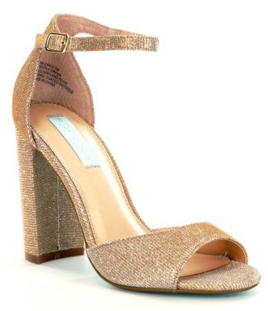 Wedding Betsey Johnson Heels blue by betsey johnson carly glitter ankle strap block heel dress sandals