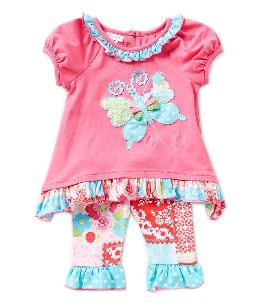 Bonnie Baby Newborn-24 Months Patchwork-Butterfly-Appliqued Dress & Patchwork-Printed Capri Leggings