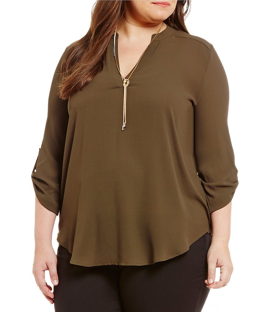 Gibson & Latimer Plus 3/4 Sleeve Woven Blouse