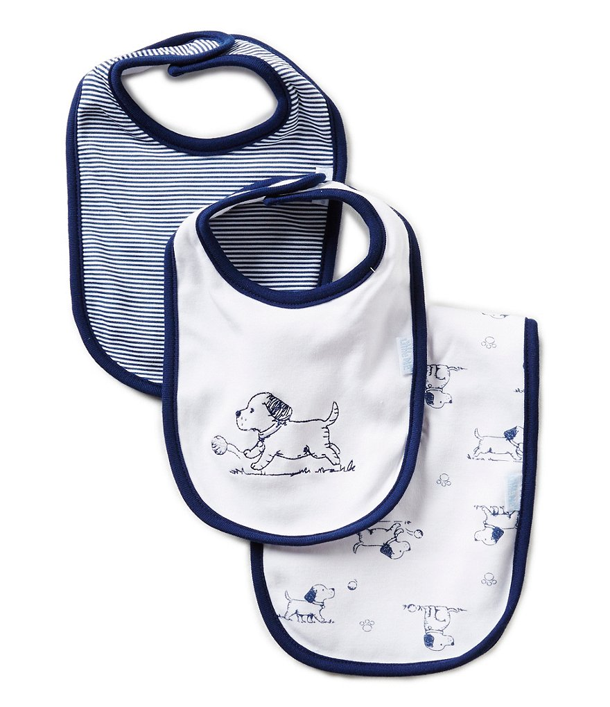 Little Me Puppy Toile Printed/Solid Bibs & Burpcloth Three-Piece Set