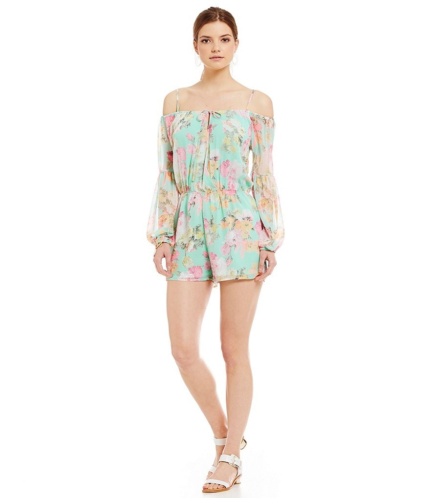 Sugarlips Floral Exposed-Shoulder Long Sleeve Romper